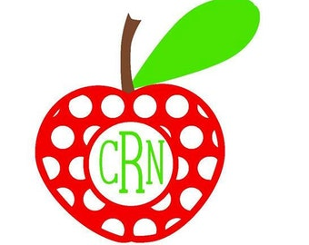 Apple Monogram Decal (Red, Brown and Lime Green)
