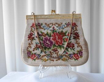 Vintage Petit Point Purse Handbag Floral Design 1950's