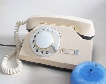 Soviet Rotary Phone, Vintage Rotary Telephone, Old Cream Phone, Antique Home Phone, Retro Telephone