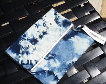 Studded denim acid wash clutch/bleached tie dye/ fold over