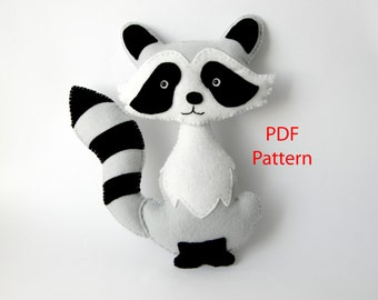 Raccoon easy to sew felt PDF pattern, Felt Hand Sewing Raccoon Plushie Pattern, Instant Download PDF