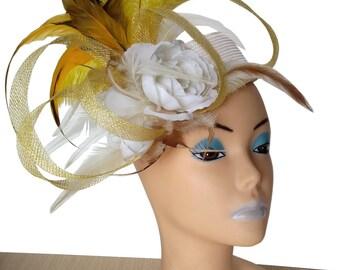 Alex White/Yellow Pillbox Designer Hat - UH225