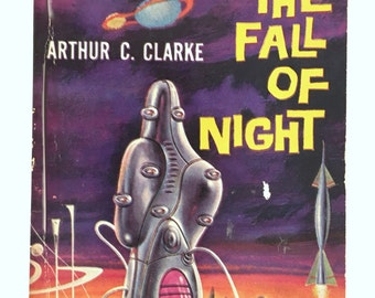 Science Fiction Book, Arthur C Clarke, Against the Fall of Night, Vintage 1960s, Sci Fi Classic Paperback, First Printing, Pyramid Books