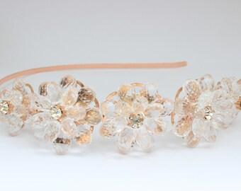 Rose gold hairband, rosegold headband, side tiara, bridal hairband, bridal headband, rose gold tiara, flower tiara,
