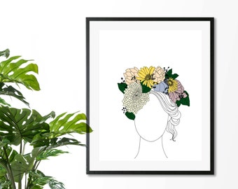 Flower Crown, Downloadable Print, Modern Art, Printable Art, Instant Download