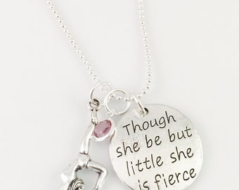 Personalized Gymnast necklace, girls necklace, girls birthday gift,  gymnast charm, birthstone charm, She be fierce