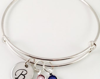 Mothers bracelet, Initial Charm Bracelet, Grandma bracelet, moms, Swarovski Birthstone bracelet, Grandma personalized bracelet, Mothers Day