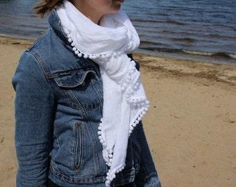White linen scarf   Handmade scarves   Scarf with pom pom trim   Women summer scarf