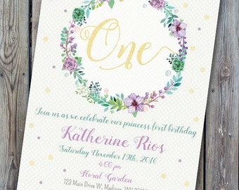 Girl first birthday floral invitation, floral wreath birthday invitation, girl  birthday invite, girl first birthday, second birthday,