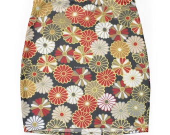 Pencil Skirt, Golden Chrysanthemums, 7 Sizes Available!