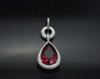 Spectacular Statement Pàve Diamond and Rubellite Pendant