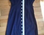 """50s Wiggle Dress / 50s Pencil Skirt / Bettie Page Dress / 38 Bust / 30"""" Waist / Blue Dress"""