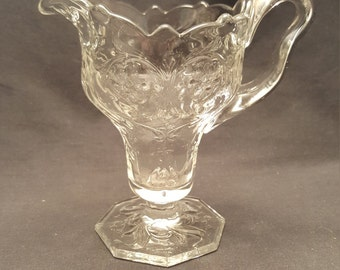 Cut Glass Vintage Small Tall Creamer Server Floral Pattern Milk Pitcher