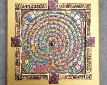 Mixed media mosaic, tempered glass and polymer clay mosaic inspired by Rocky Valley Labyrinth in Cornwall