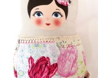 "Babushka matryoshka softie plush doll pillow gift, large, 42cm/16.5"" tall, vintage style"