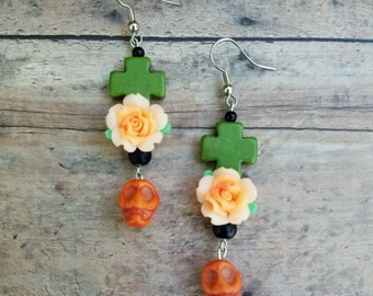 Dia de los Muertos earrings. Day of the Dead earrings. Sugar skull earrings. Skull earrings. Rose earrings. Chunky cross earrings