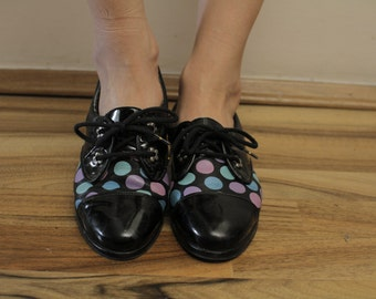 Vintage Dotted Oxford Shoes real leather 37 Eur, 4 UK Women, 6 1/2 US