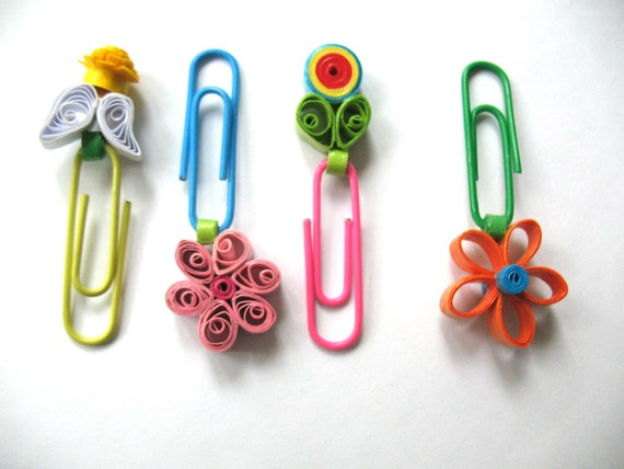 Bookmark, paper quillng clip,  quilled accessories, set of 4 pieces