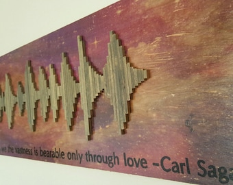 Carl Sagan Wood Soundwave Wall Art - Carl Sagan Space Wood Soundwave - Soundwave Art - Anniversary Gift Idea