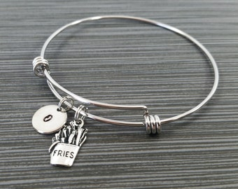 French Fry Bracelet Bangle - Fries Charm Bracelet - Expandable Bangle - Charm Bangle - French Fries Bangle - Initial Bracelet - Friend Gift