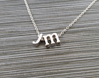 Silver Initial Necklace - Two Initial Necklace - Initial Personalized Necklace - Letter Necklace - Layering Necklace - Promise Necklace