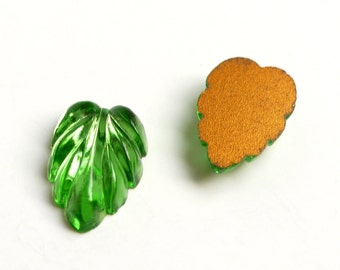 Vintage leaf shaped glass stone, German, 3 colours - 16x11mm leaf - 6 pcs - C78