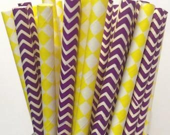 2.85 US Shipping -Minnesota Vikings Paper Straws - Purple/Yellow Chevron - Cake Pop Sticks - Drinking Straws