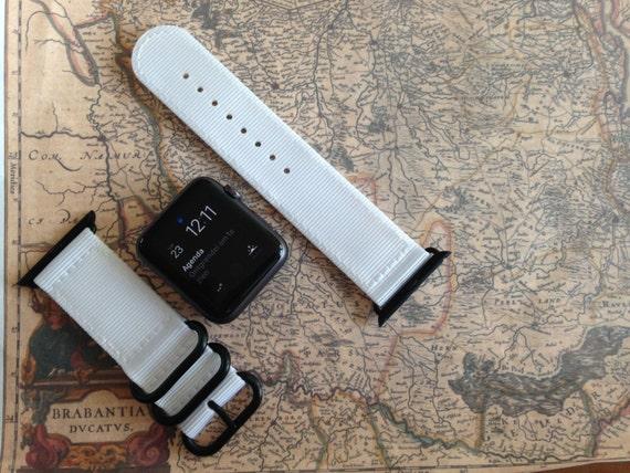 Apple watch original, series 1, series 2 band: Nato/zulu strap 2-piece Apple watch / Apple watch band (White), Free Shipping Worldwide! SALE