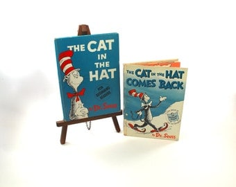 "FIRST EDITIONS ""The Cat in the Hat"" (second printing) & ""The Cat in the Hat Comes Back"" (first printing) - Dr. Seuss, 1957, 1958, no DJs"