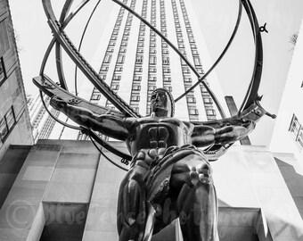 Atlas Statue, Rockefeller Center, Rock Center, Art Print, Wall Decor, Black and White, City Streets, New York City Photograph, Wall Art