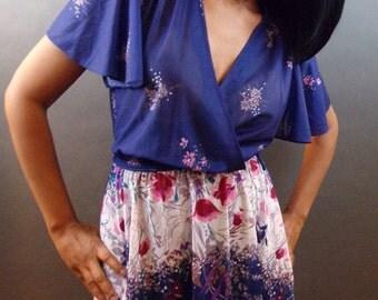 SALE Vintage 1970s midi floral dress