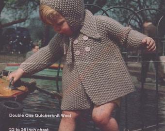 "Coat And Hat Set Knitting Pattern 22-26"" DoubleOne Quickerknit Wool -  PDF Download"