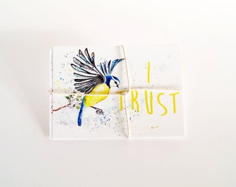 Affirmation Postcard Bundle, Set of 4 Affirmation Cards, Bird Art Cards, Kind Words, Bird Postcards, Bird Card Set, Blue tit, Owl, Bird Art