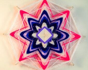 Handmade woven yarn mandala ~ god's eye, ojos de dios, the eye of god, pink mandala, white mandala, OOAK