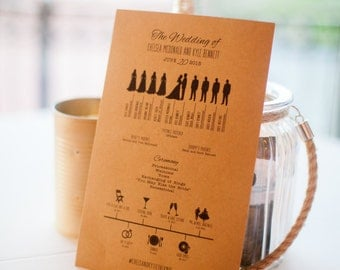 Custom Wedding Program | Bridal Party and Timeline | Icons | Digital File