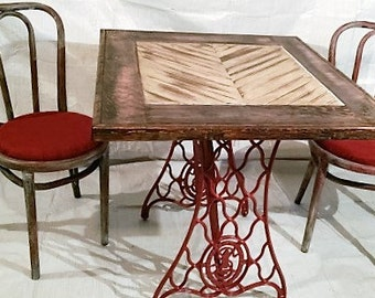 Rustic Table and Chairs, Singer Base