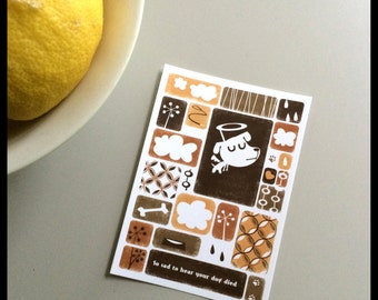 Animal condolance card -  Dog - retro style postcard in brown