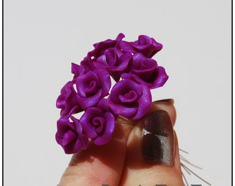 Purple Roses, 1 FLOWER, jewelry supply, Polymer clay roses, polymer clay flower beads, Polymer clay flower, Rose flowers, Miniature roses