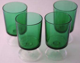 Vintage French Green Glasses - Set of 4