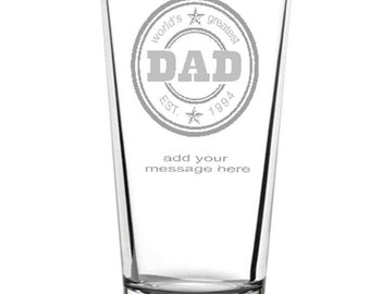 Fathers day greatest dad straight pint personalised and endraved, with optional gift tag