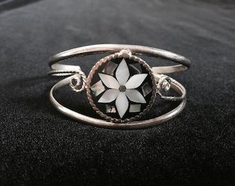Pretty Mexican Abalone Inlay Alpaca cuff bracelet
