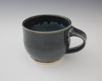 Dark Blue/Grey & Light Blue Ceramic Mug, wheel thrown