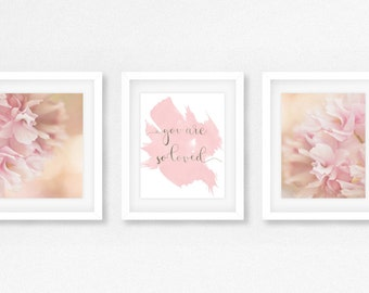 Floral nursery, you are so loved, quote for girls nursery, Pink and floral girls room, cherry blossom nursery, Baby shower gift idea