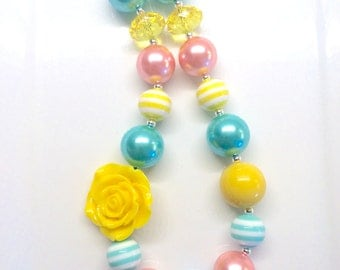 Yellow Coral Pink Mint Teal Birthday Chunky Bubblegum Beaded Toddler Girls Necklace