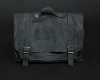 Matte Black Laptop Messenger Backpack, Valentines Gift Idea, Rustic Men Work Travel Bag, Laptop Purse, Laptop Briefcase, Leather Rucksack