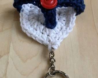 Novelty Key Chain, Crocheted Key Ring, Butterfly Key Ring, Flip Flop Key Ring, Gift For Him, Bag Charm, Gift For Her, Small Gift