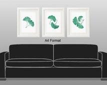 Printable Large Art Botanical Prints Set 3 Digital Download Gingko Ginko Ginkgo Leaf Prints Teal Bedroom Decor Living Room 8X10 16X20 & A4