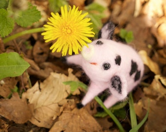 furry piggy needle felting