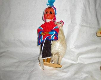 """Boy with a Llama 7 1/4"""" Ceramic Head, Wire Body"""