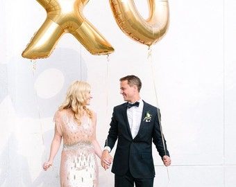 """Giant XO Balloons -  40"""" Inch Gold Mylar Balloons in Letters X-O  - Metallic Gold - Valentines Day Balloons, Wedding Decorations"""